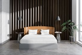 Wooden Bedroom Interior With Plant
