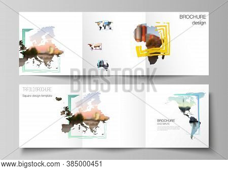 Vector Layout Of Square Format Cover Templates For Trifold Brochure, Flyer, Cover Design, Book Desig