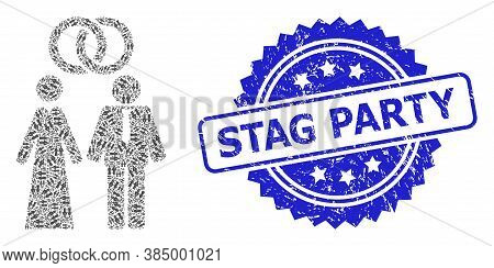 Stag Party Unclean Stamp Seal And Vector Recursive Mosaic Marriage Persons. Blue Stamp Seal Contains