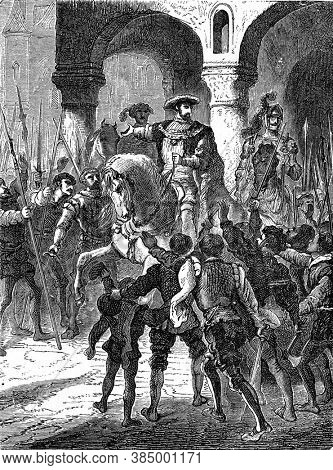 Francois I and the Parisians, Vintage engraving. From Popular France, 1869.