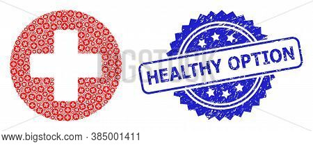 Healthy Option Textured Seal Imitation And Vector Recursive Collage Medical Cross. Blue Seal Contain