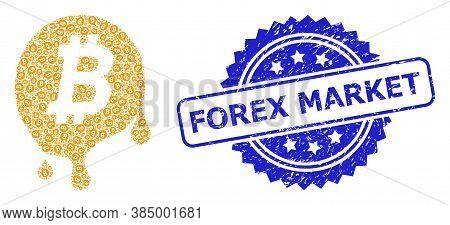 Forex Market Textured Seal Imitation And Vector Recursive Mosaic Melting Bitcoin. Blue Stamp Seal Ha