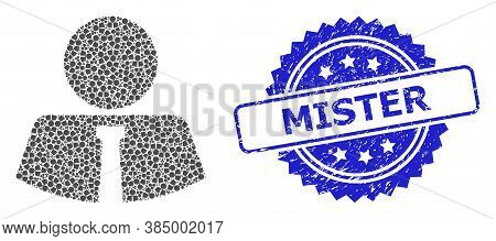 Mister Dirty Stamp Seal And Vector Fractal Collage Mister. Blue Stamp Seal Contains Mister Text Insi