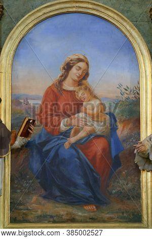 VUGROVEC, CROATIA - MAY 07, 2014: Our Lady's altar in the parish church of St. Francis Xavier in Vugrovec, Croatia