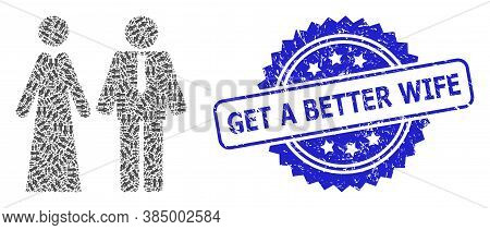 Get A Better Wife Textured Stamp Seal And Vector Fractal Composition Newlyweds. Blue Stamp Seal Has
