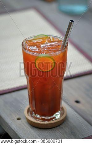 Lemon Tea, Tea Or Iced Tea Or Lime Tea With Lime