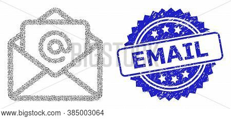 Email Rubber Stamp Seal And Vector Recursive Composition Open Email. Blue Stamp Has Email Caption In