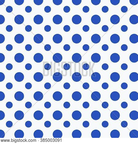 Cerulean Blue And White Polka Dots Pattern In 12x12 Design Element Backgrounds.