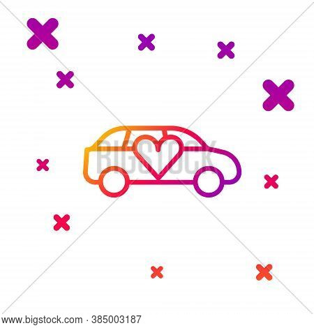 Color Line Luxury Limousine Car Icon Isolated On White Background. For World Premiere Celebrities An