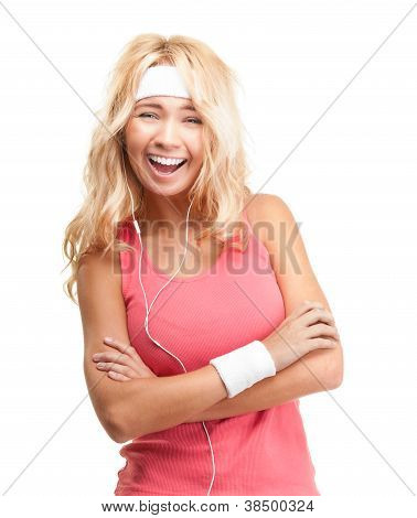 Sporty Girl In Headphones On White Background.