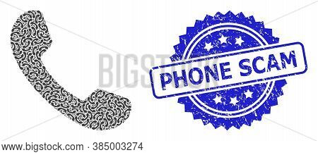 Phone Scam Rubber Stamp Seal And Vector Recursive Collage Phone. Blue Stamp Seal Has Phone Scam Capt