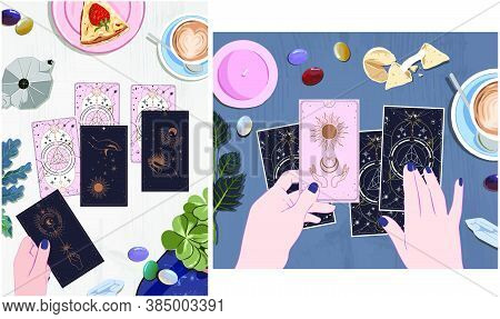 A Session With A Fortune Teller With Tarot Cards, Drink Coffee And Wait On Arcane Cards At The Mysti