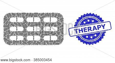 Therapy Corroded Stamp Seal And Vector Recursion Collage Pill Blister. Blue Stamp Seal Contains Ther