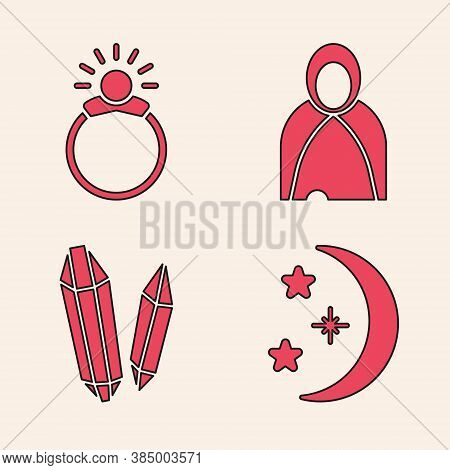 Set Moon And Stars, Magic Stone Ring With Gem, Mantle, Cloak, Cape And Magic Stone Icon. Vector