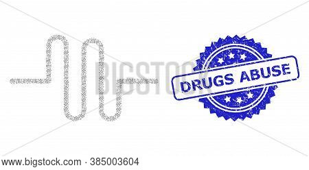 Drugs Abuse Rubber Stamp Seal And Vector Recursion Composition Pipeline. Blue Stamp Seal Includes Dr