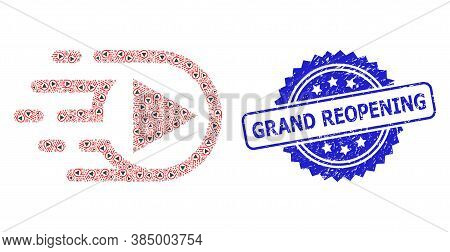 Grand Reopening Textured Stamp Seal And Vector Recursive Collage Play Function. Blue Stamp Seal Incl