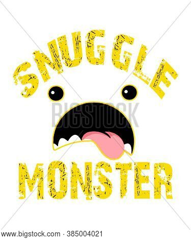 Snuggle Monster A Graphic Illustration For Love Affection And Cuddle Concepts.