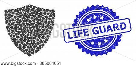Life Guard Unclean Seal Imitation And Vector Recursion Collage Protection Shield. Blue Stamp Seal In