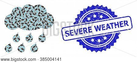 Severe Weather Rubber Seal And Vector Recursive Mosaic Rain Cloud. Blue Seal Has Severe Weather Titl