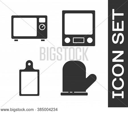 Set Oven Glove, Microwave Oven, Cutting Board And Electronic Scales Icon. Vector