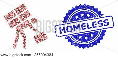 Homeless Unclean Seal And Vector Fractal Collage Refugee Person. Blue Seal Contains Homeless Title I