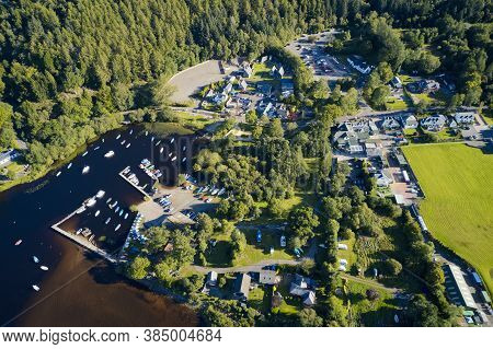 Aerial View Of Balmaha Scottish Village At Loch Lomond