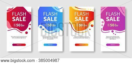 Set Of Dynamic Modern Abstract Geometric And Liquid Mobile Banners For Flash Sale. Special Offer And