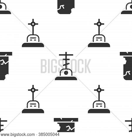 Set Old Grave With Tombstone, Grave With Cross And Grave With Cross On Seamless Pattern. Vector