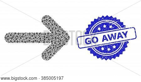 Go Away Dirty Stamp Seal And Vector Fractal Mosaic Right Arrow. Blue Stamp Includes Go Away Tag Insi