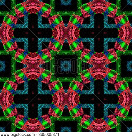 Abstract Kaleidoscope Seamless. Azulejos, Green And Blue. Rough Abstract Aquarel Effect. Geometric T