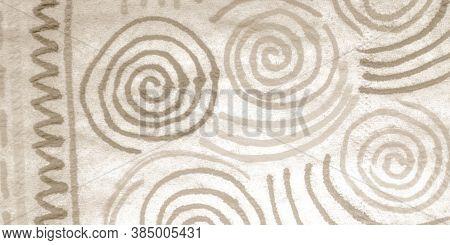 Bohemian Artwork. Papyrus Carpet Texture. Geo Ethnic Print. Ornamental Block. Weathered Bohemian Art