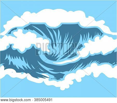 Sea Waves Sketch Pattern. Ocean Surf Wave Hand Drawn Horizontal Seamless Pattern Illustration Vector
