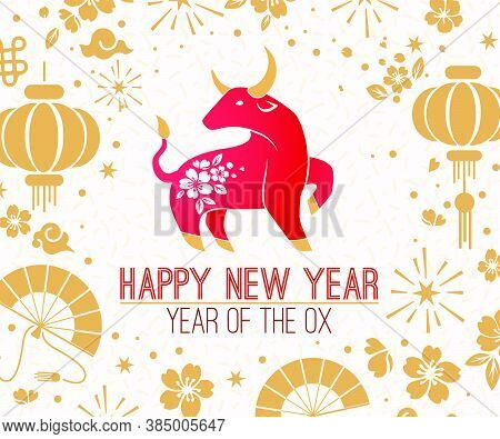 Happy Chinese New Year 2021 Zodiac Sign, Year Of The Ox, Red And Gold Paper Cut Ox Character, Flower