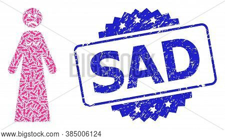 Sad Corroded Stamp Seal And Vector Recursion Collage Sad Woman. Blue Stamp Seal Has Sad Caption Insi
