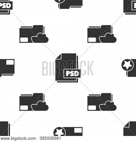 Set Document Folder With Star, Psd File Document And Cloud Storage Text Document Folder On Seamless