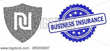 Business Insurance Corroded Seal And Vector Recursive Collage Shekel Guard. Blue Seal Has Business I