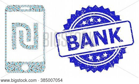 Bank Unclean Stamp And Vector Recursive Collage Shekel Mobile Bank. Blue Stamp Seal Includes Bank Ca