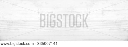 Wide Table Top View Of Wood Texture In White Light Panoramic Background. Panorama Grey Clean Grain W