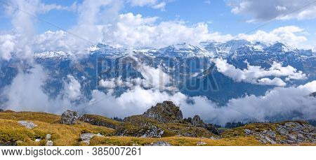 Panorama Of The Snow Mountain Landscape Over The Swiss Alps On The Glattalp, Canton Schwyz, Switzerl