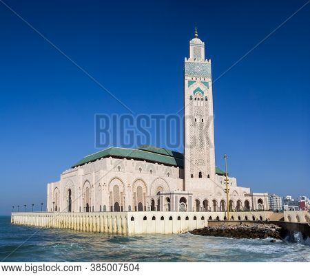 Casablanca, Morocco - February, 21. 2019: Panorama View Of The Hassan Ii Mosque From The Promenade A