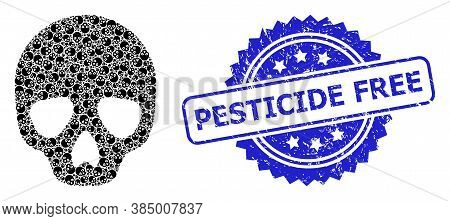 Pesticide Free Unclean Stamp Seal And Vector Recursion Collage Skull. Blue Stamp Seal Contains Pesti