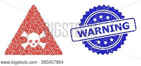 Warning Grunge Seal And Vector Recursive Mosaic Skull Toxic Warning. Blue Seal Has Warning Title Ins