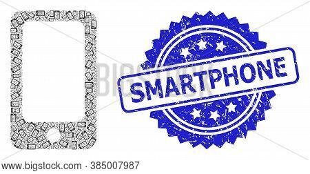 Smartphone Rubber Stamp And Vector Recursive Collage Smartphone. Blue Seal Includes Smartphone Title