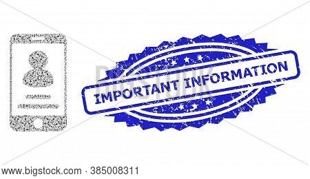 Important Information Textured Stamp Seal And Vector Recursion Mosaic Smartphone User Info. Blue Sta