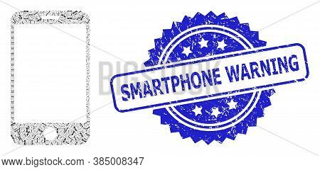 Smartphone Warning Unclean Seal Print And Vector Fractal Collage Smartphone. Blue Seal Contains Smar