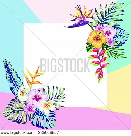 Frame Of Tropical Flowers And Palm Leaves For Posts In Social Networks, Place For Photo And Text. Ed