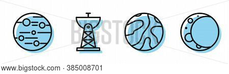 Set Line Falling Stars, Planet Mars, Satellite Dish And Moon Icon. Vector