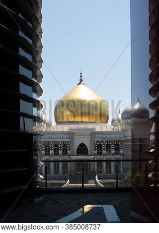 Bandung, West Java/ Indonesia - 25th August 2020: Trans Studio Grand Mosque And Its Reflection On Gl