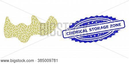 Chemical Storage Zone Unclean Stamp Seal And Vector Recursive Composition Spot. Blue Stamp Seal Has