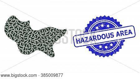 Hazardous Area Grunge Stamp Seal And Vector Recursion Composition Spot. Blue Stamp Seal Has Hazardou